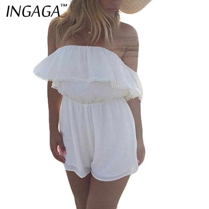 INGAGA 2015 Brand New Women Overalls Rompers Solid Sleeveless Chiffon Playsuits Lace Ruffles Jumpsuits(China (Mainland))