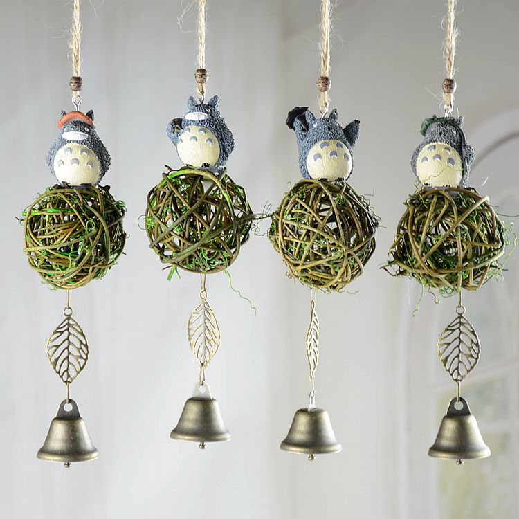 1PC Metal Bell Wind Bell Wind Chimes Aeolian Bells + Resin Animal Totoro Figurine for Garden Window Car Outdoor Living Room(China (Mainland))