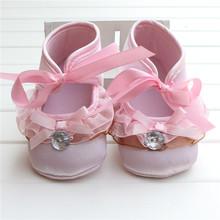 2015Sale Princess Baby Baptism Shoes Pink Satin Ballerina Flat With Pink Ribbon Girl Shoes Heart Print Sole Sapatos Infantis(China (Mainland))