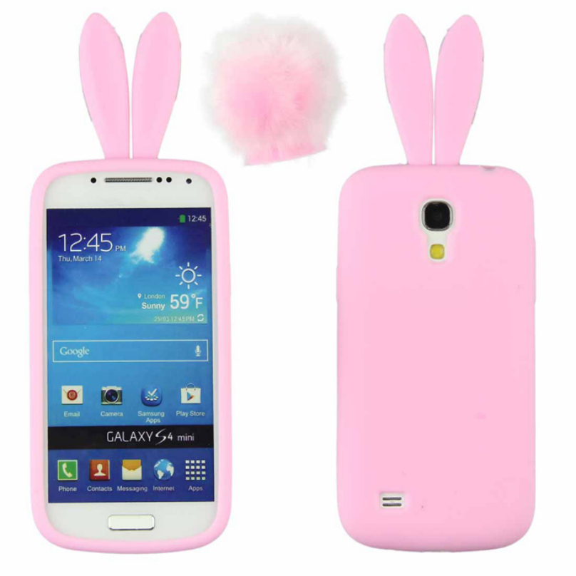 Cute Silicon Rabbit Stand Holder Soft Case Cover Skin For Samsung Galaxy S4 Mini I9190 TOP QUALITY(China (Mainland))