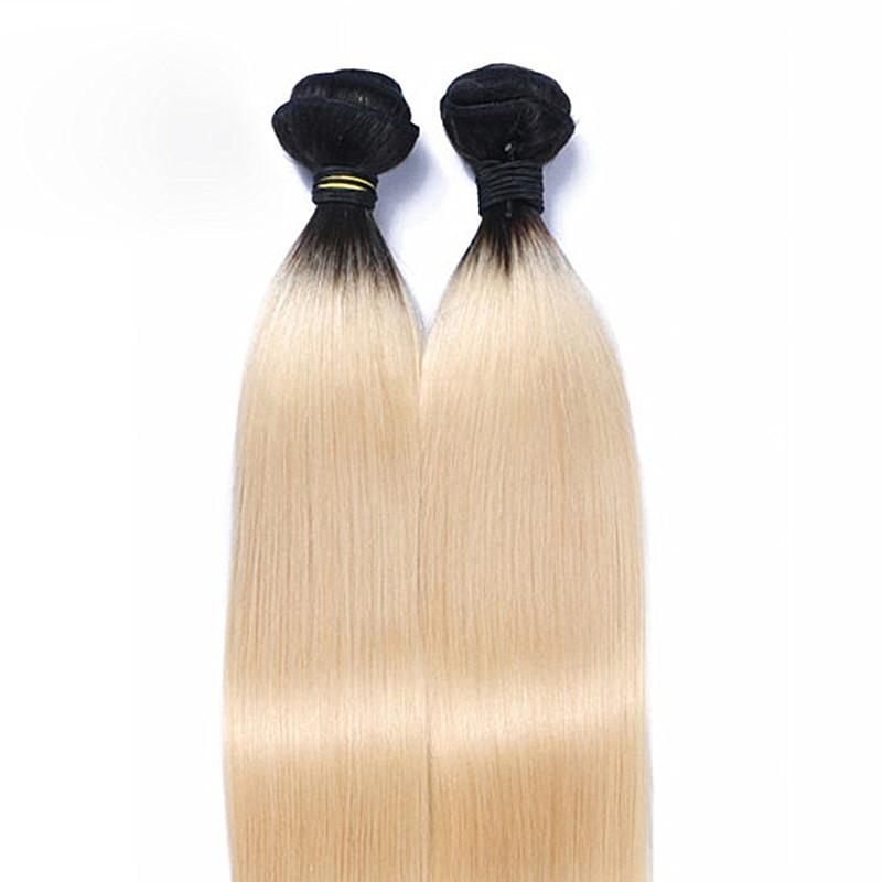 Full Shine 613 Ombre Brazilian Hair Bundle Deals 2 Bundles Straight Hair Two Tone Brazilian Weave Hair Extensions Free Shipping