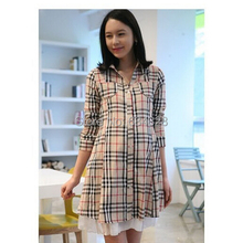 Cotton Long Sleeve Plaid Pregnant Blouses Maternity Clothing Shirt Clothes For Pregnant Women(China (Mainland))