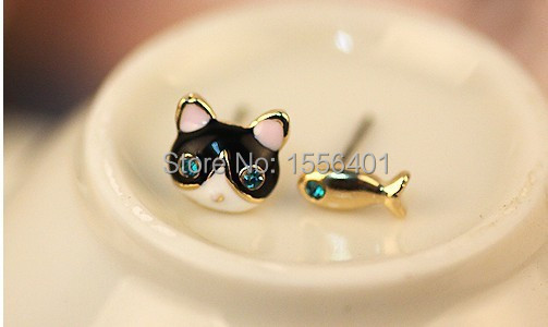 Hot selling 2015 wholesale lots Animal cat fish earrings wholesale jewelry earrings girl Stud Earrings