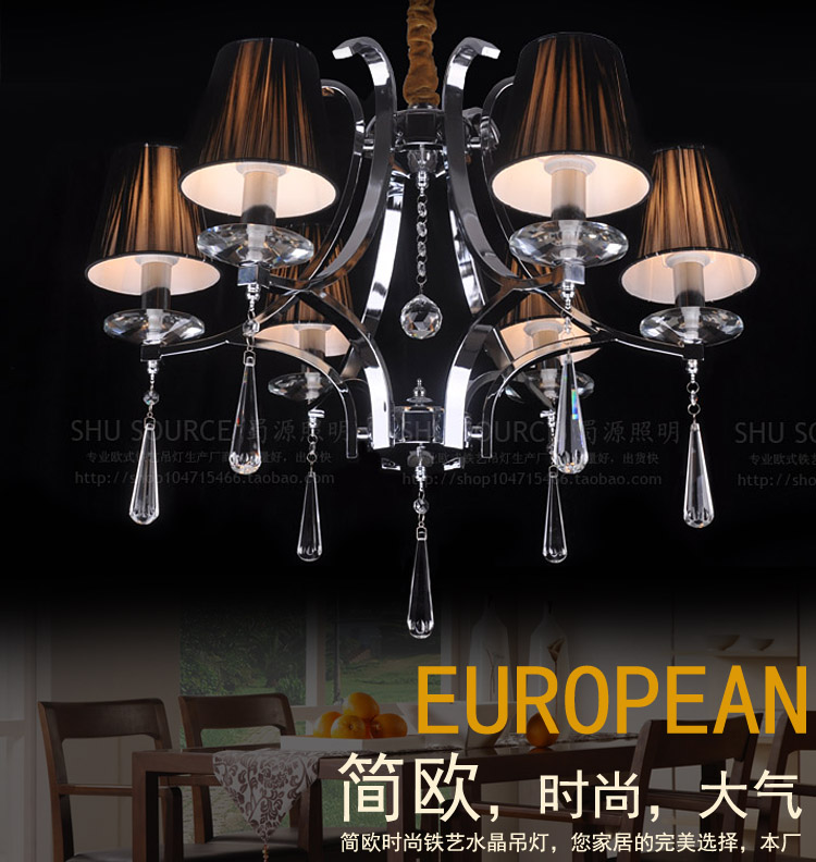Brief fashion crystal pendant light living room lights restaurant lamp wrought iron crystal lighting fitting t6(China (Mainland))