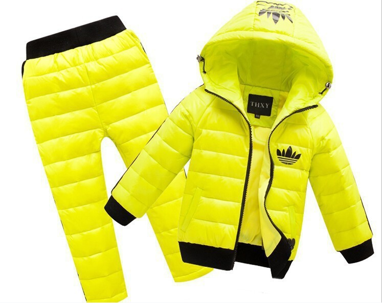 free shipping 2015 New fashion children boy girl winter clothes suit kids Sports warm down jacket+pants 2 sets brand child suits(China (Mainland))