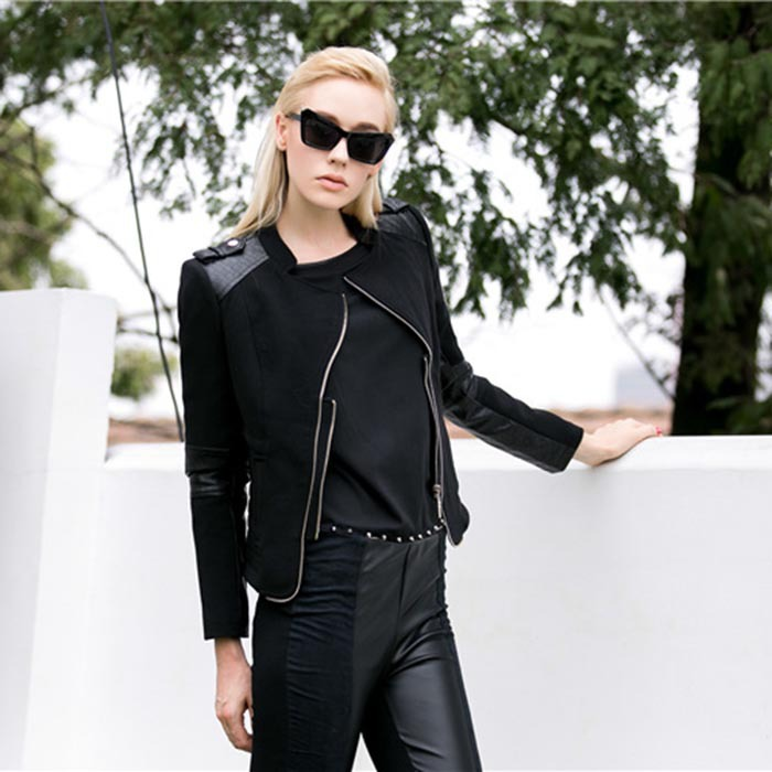 2015 Quality Fashion Casual Zipper Pocket Polyester and PU Spliced Black Short Jacket Leather for Women(China (Mainland))