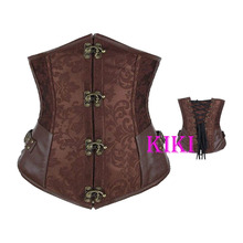 Brown retro Brocade Gothic Steel Boned Bustiers Steampunk Corset Leather Underbust Corset Tops Shaper Free Shipping(China (Mainland))