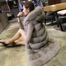 2016 New Fashion Long Faux Fox Mink Fur Vest With Hooded Women Winter Slims Super Long Fake Fur Vests Fur Coat Female Jackets(China (Mainland))