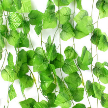 230cm / 7.5 ft Long Artificial Plants Green Ivy Leaves Artificial Grape Vine Fake Foliage Leaves Home Wedding Decoration(China (Mainland))