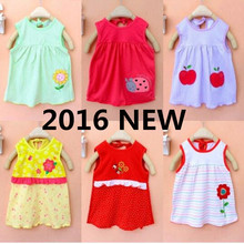 2016 baby girl dress 1-2 years summer dress Cotton Clothing baby dress Clothes Printed 1 year birthday dress TE6325(China (Mainland))