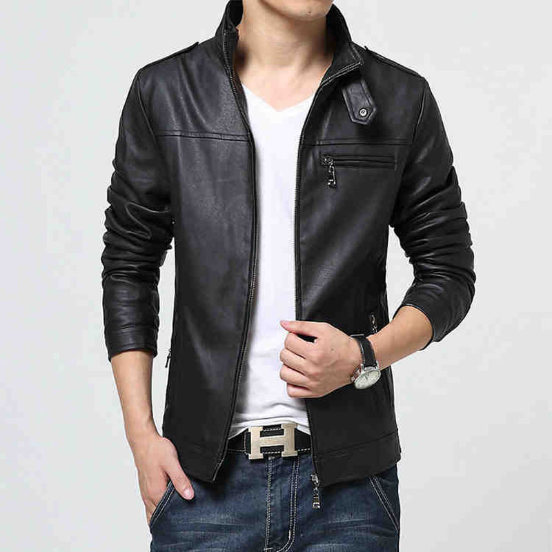 Brand Jacket Men Slim Fit Male Leather Jacket Fall Top Casual Black PU Jackets Chaqueta Hombre Plus Size M-5XL(China (Mainland))