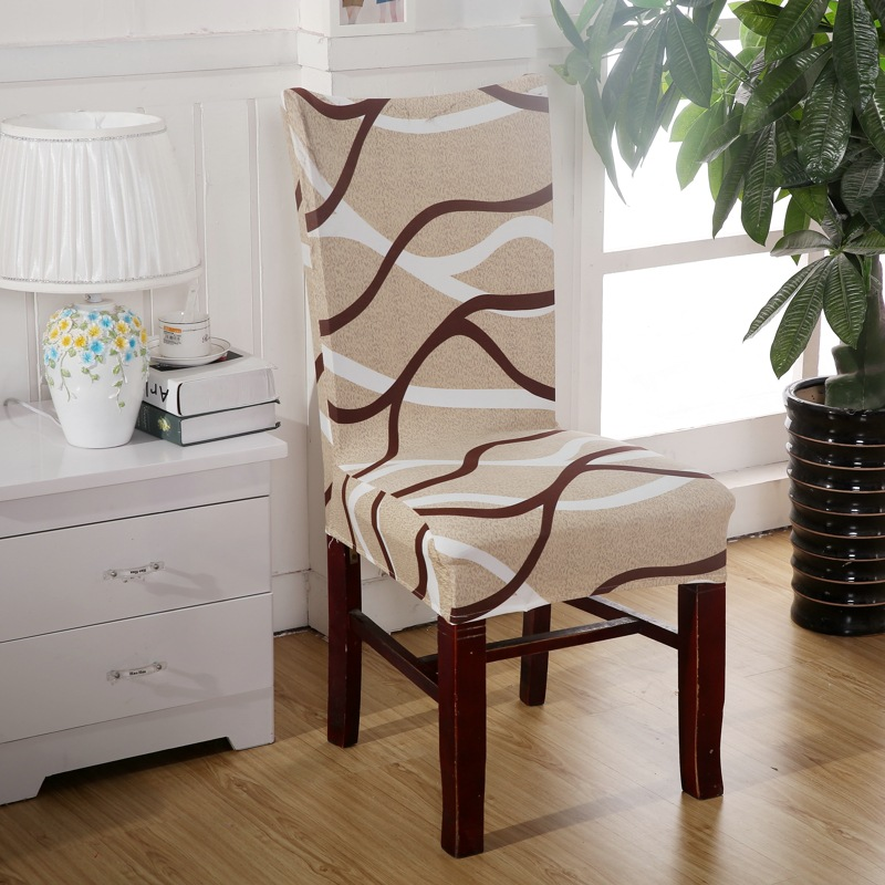 1 piece brown curve chair covers cheap jacquard stretch