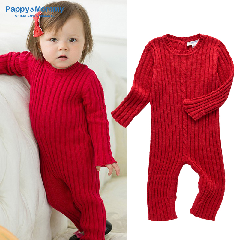 Pappy&Mommy Baby Winter Warm 100% cotton knitted Romper Solid Long Style Kids Cloth(China (Mainland))