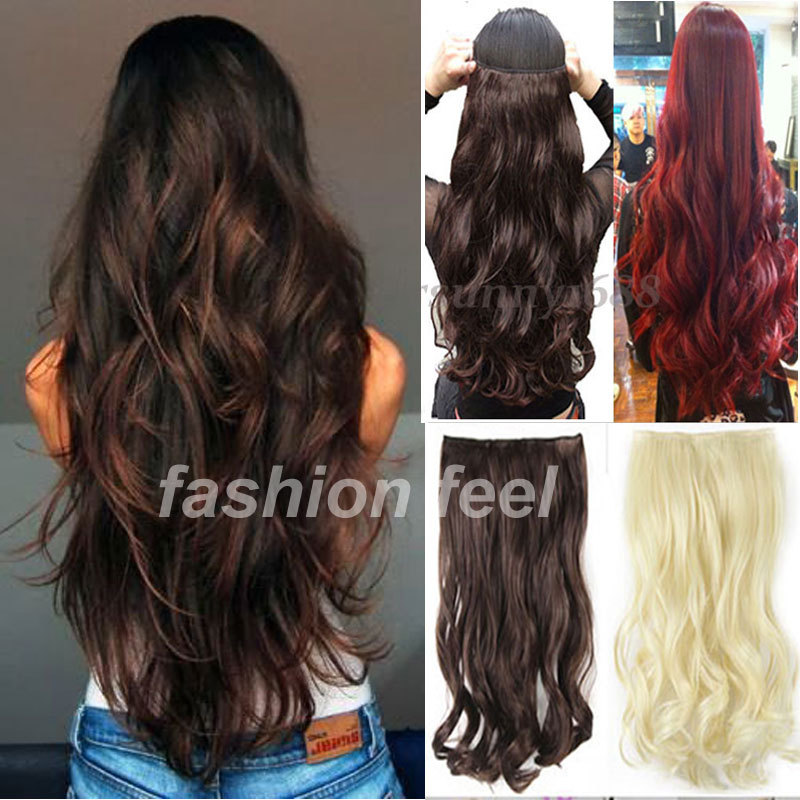"Fall To Waist 27"" 68CM Clip in ins Hair Extensions 3/4 Full Head Curly/Wavy Long Women Lady Hair Piece UK US 1-5 Delivery Day(China (Mainland))"