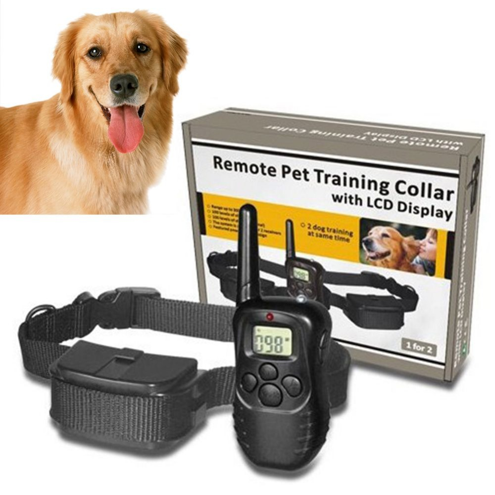 Remote Pet Training Collar with LCD Display 100LV 300 Yard Level Dog Training Behaviour Aids Collar with Battery&Retail Package(China (Mainland))