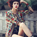 Three Quarter plus size 3XL spring autumn 2016 women basic coats bohemian embrodiery floral Jacket womencasual