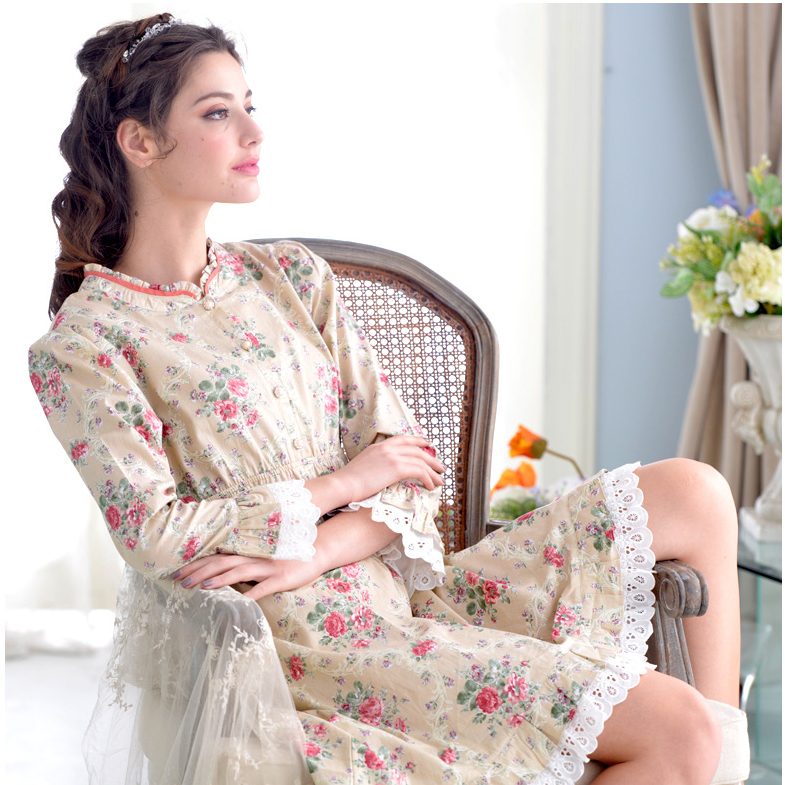 2015 women's spring and autumn nightwear cotton long-sleeved round neck lace nightgown pajamas home gown vestidos(China (Mainland))