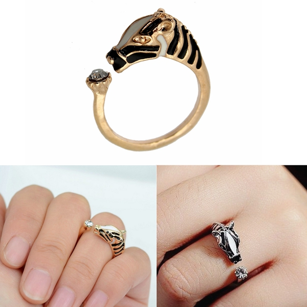 New Fashion Animal Horse Head Ring Design Cuff Ajustable Crystal Resizeable Women Trendy Rings Jewelry Free Shipping(China (Mainland))
