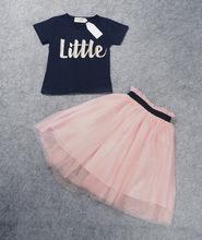 ING cute mom 2016 Suit T shirt tutu skirt 2pcs set black letters little pink suit