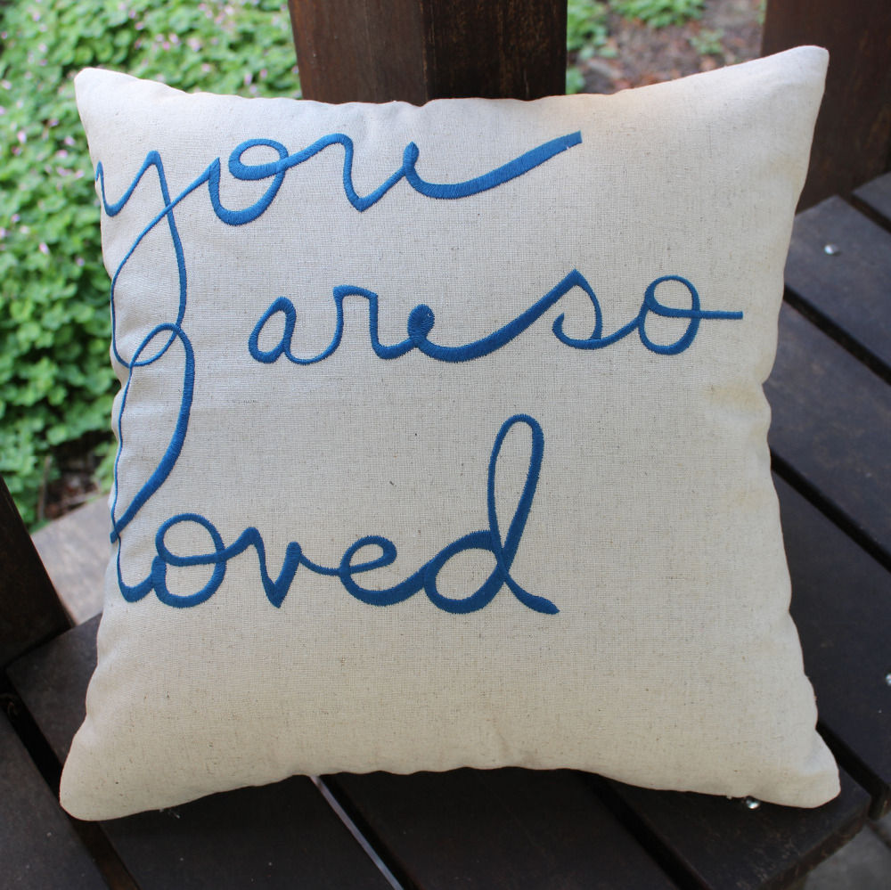 VEZO HOME new embroidered blue letters cotton linen sofa cushions cover throw pillows case ...