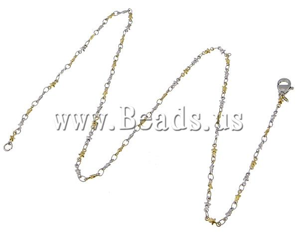 Free shipping!!!Necklace Chain,Vintage, 316L Stainless Steel, Star, two-tone, 6x2.50x1mm, Length:18 Inch, 20Strands/Lot<br><br>Aliexpress