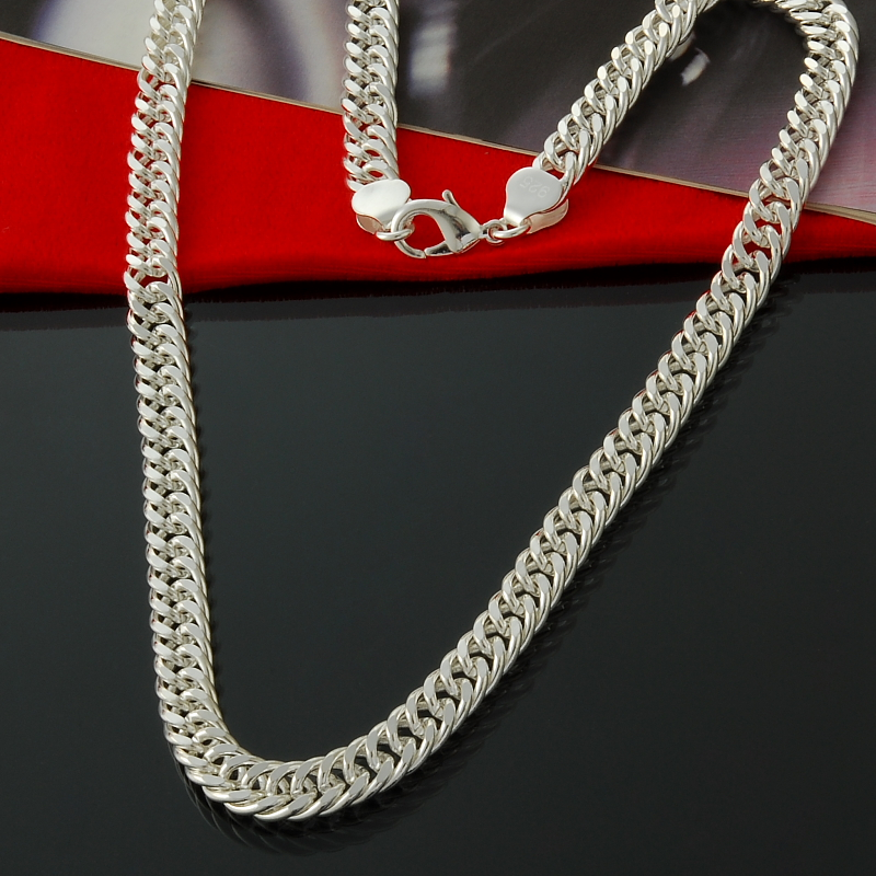 10MM 20inch, 22inch, 24inch Cable link Necklaces 925 necklaces Christmas Men Jewelry Free Shipping 925 Sterling Chain Necklace(China (Mainland))