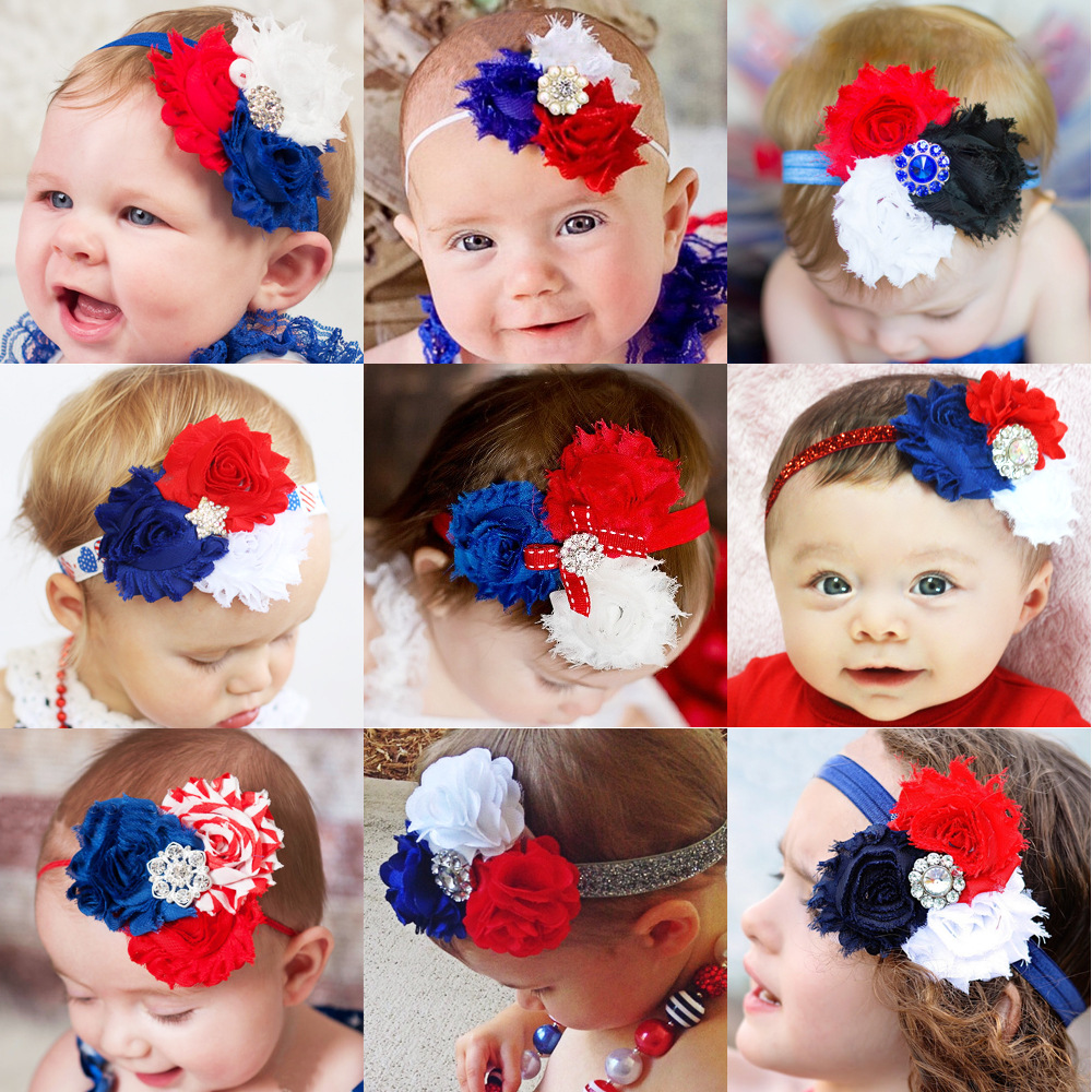 3pcs/lot Independence Day American National Day Headband Sunflower Baby Girl Kids Hair Band Hairwear Accessories Flower KH006(China (Mainland))
