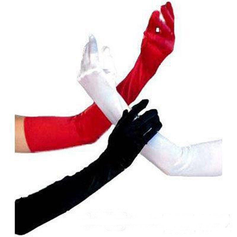 Silk Satin Red/Black/White Bridal Gloves Long Fingers Wedding Bride Opera Glove(China (Mainland))