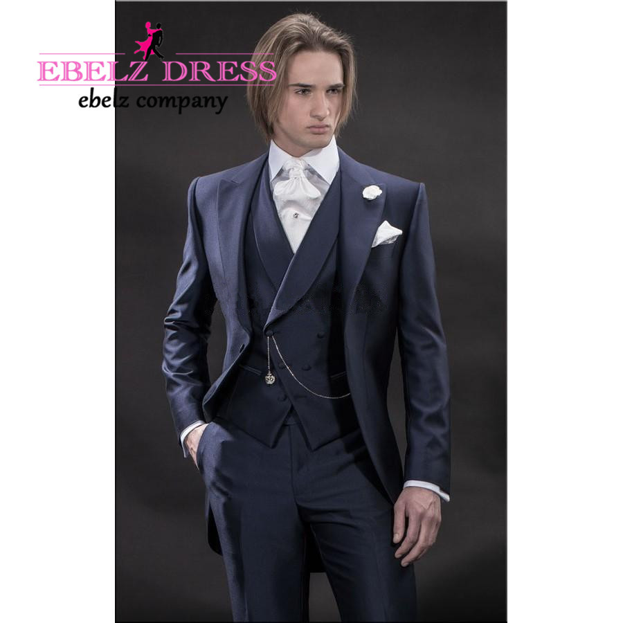 2015 Custom Made Blue Slim Fit Wedding Suit Long Jacket Sapphire