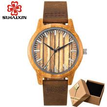 Reloj de madera de bambú de SIHAIXIN, de lujo para hombres y mujeres, relojes de madera con correa de cuero(China)