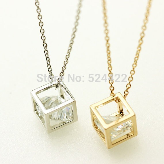 Free shipping 30pcs/lot Simple Gold, Silver Cube Necklace,zircon in the cube necklace,Rhinestone Necklace for women XL-078<br><br>Aliexpress