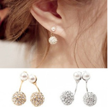 Valentine's Day Gold Silver Plated Double Side Earing Fashion Jewelry Crystal Ball Stud Earrings Women Simulated Pearl Earrings(China (Mainland))