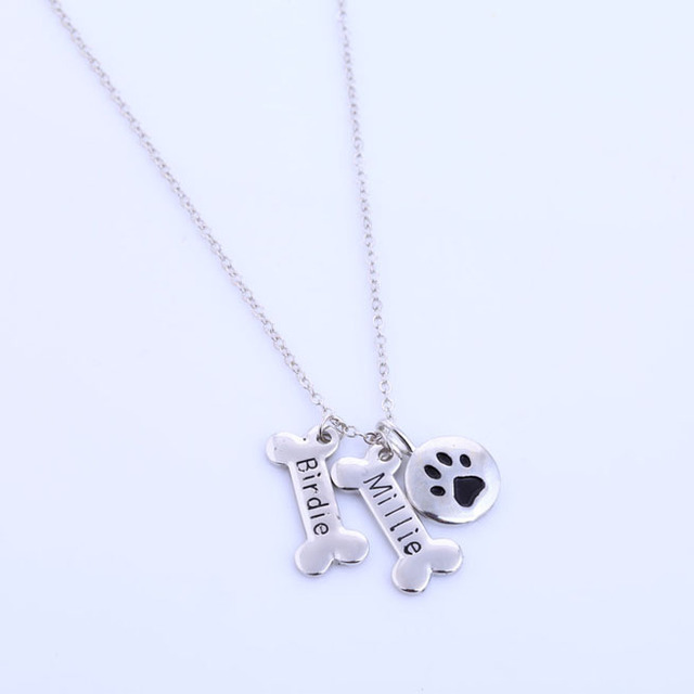 Silver Plated Personalised Dog Paw Monogrammed Necklace
