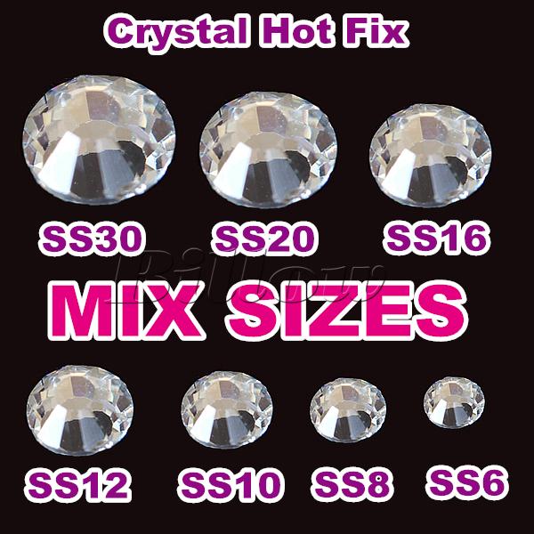 Mixed Sizes! 7 Sizes Crystal Clear Hotfix Stones 1512pcs/Bag DMC Hot Fix Rhinestones SS6 SS8 SS10 SS12 SS16 SS20 SS30 B2221(China (Mainland))