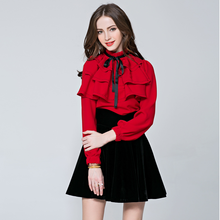Buy 2017 Spring Fashion Long Sleeve Blouses OL Ladies Solid Color Bow Tops Slim Stand Collar Ruffles Blouses Women Workwear for $29.88 in AliExpress store