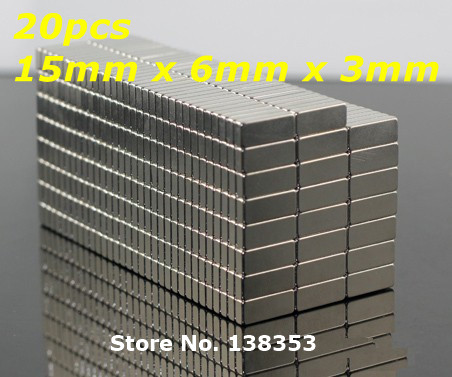 20pcs Bulk Super Strong Neodymium Rectangle Block Magnets 15mm x 6mm x 3mm N35 Rare Earth NdFeB Rectangular Cuboid Magnet<br><br>Aliexpress