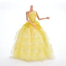 Многослойные Элегантные ручной работы свадебное платье принцессы для куклы Барби цветочный Одежда для кукол костюмы куклы аксессуары(China)