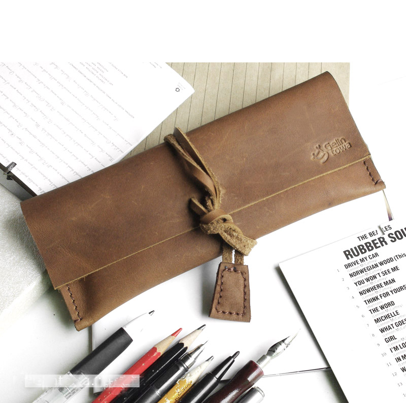 Quality multi-purpose stationery box pencil case cosmetic bag first layer of cowhide vintage brief roll pen curtain genuine<br><br>Aliexpress