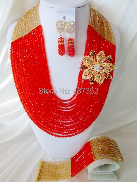 New Arrived 16 layers Champagne Gold and Red Crystal Nigerian Beads Necklaces African Wedding Beads Jewelry Set NC003<br><br>Aliexpress