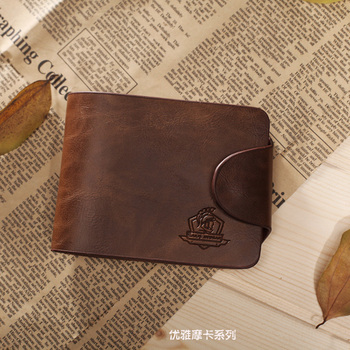 Free shipping , wholesale ,men's short wallet, Brand name genuine Leather Wallet for men , Gent Leather purses hot fashion
