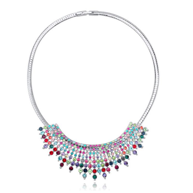 Luxury Tassel Choker Necklaces Crystals from Swarovski Bib Maxi Collier Women Party Accessories Fine Jewelry(China (Mainland))
