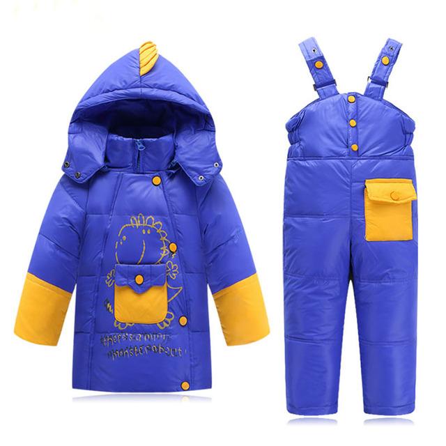 Детские Мальчики Девочки Зима Пуховик Детская Одежда для Детей Теплые Куртки DinosaureToddler Snowsuit Верхняя Одежда Пальто + Брюки Комплект Одежды