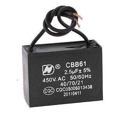 Wired Platic Shell AC 450V 2.5uF 2 Wire Lead Motor Running Capacitor CBB61(China (Mainland))