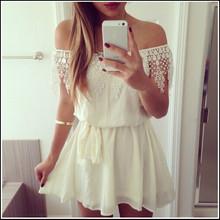 AliExpress  Hot sale!! S-XL New fashion  strapless shoulder chiffon sexy white lace dress slash neck mini sexy girl
