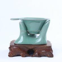 Di Kiln, Longquan Celedon Porcelain strainer & Stand For Gongfu Tea Handmade