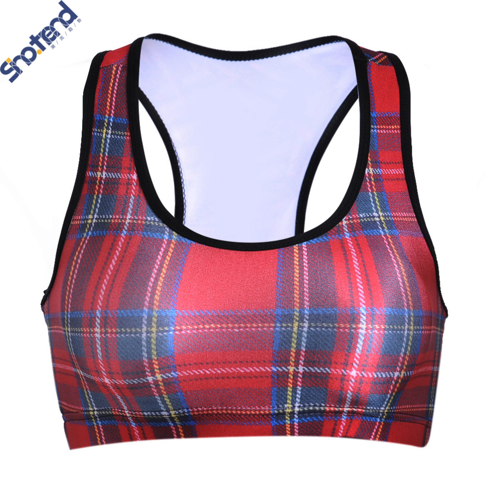 S.T Women 3D Red Plaid Stripes Sports Bras For Running GYM Padded Wirefree Shakeproof Push Up Fitness Top Bras Woman Summer Wear(China (Mainland))