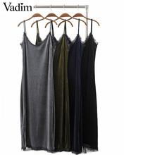 Buy Women lace patchwork v neck velvet spaghetti strap long dress vintage side split slim fit shift casual dresses vestidos QZ2779 for $12.04 in AliExpress store