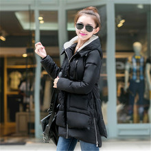 2015 New Korean Female Military Dress Big Yards Thick Warm Hooded Down Jacket And Long Sections W0302