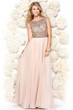 2015 Elegant A-Line Abendkleid Beading Crystal Evening Dress Chiffon O-Neck Sleeveless Floor-Length Party Prom Gown 0248(China (Mainland))