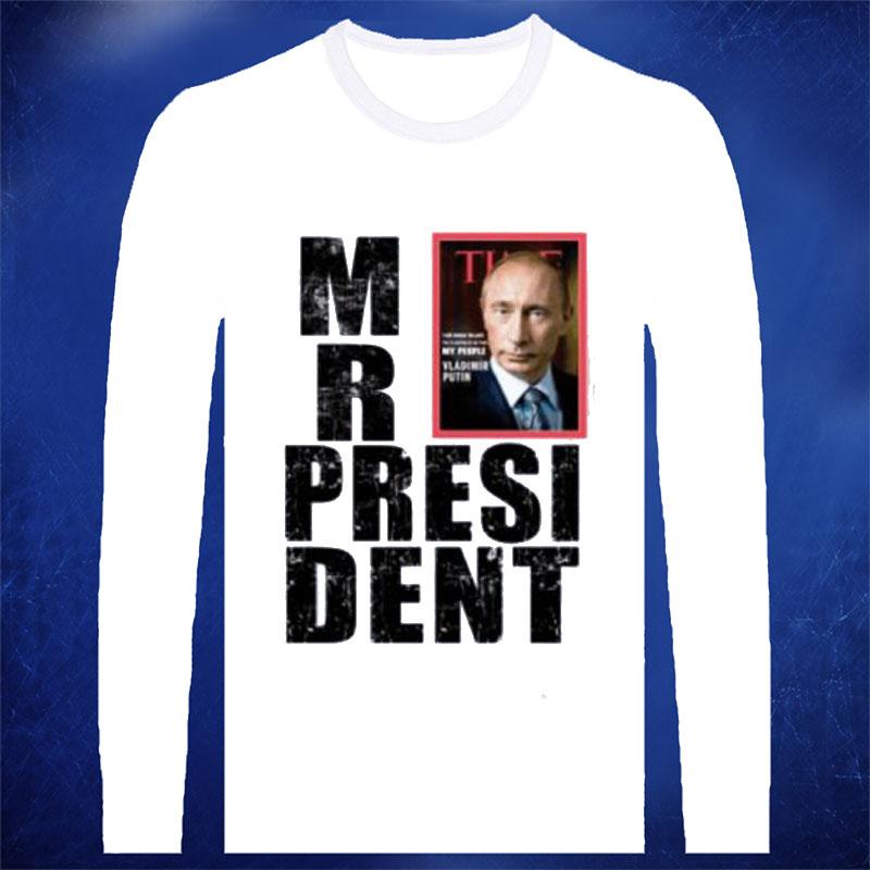 Mr President PUTIN Russian World Leader 100% Cotton O Neck Full Sleeve Camisetas T Shirt, Unisex, Free Shipping(China (Mainland))